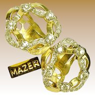 Vintage MAZER Wreath of Ribbon Earrings w/ 'Diamond' Like Rhinestones c.1950's
