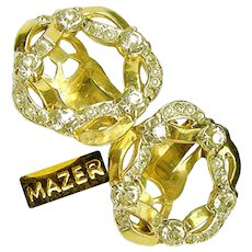 Vintage MAZER Wreath of Ribbon Earrings w/ 'Diamond' Like Rhinestones c.1950's