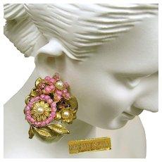 MIRIAM HASKELL ICONIC Earrings, Vintage Pink Art Glass 'n Rose Montee