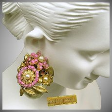 MIRIAM HASKELL Pink Earrings, ICONIC Vintage Art Glass 'n Rose Montee