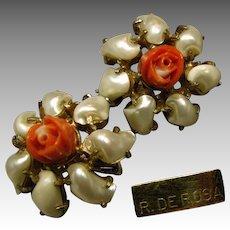 Vintage De Rosa Floral Earrings, Pearlescent Petals Coral-like Centers