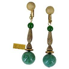 MIRIAM HASKELL Vintage Pendant Earrings, Green Speckled Art Glass