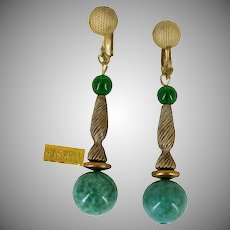MIRIAM HASKELL Vintage Pendant Earrings, Green Speckled Art Glass