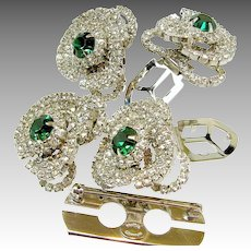Vintage HATTIE CARNEGIE DUETTE Set, Emerald Rhinestones-Rare Bookpiece