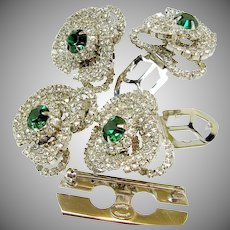 HATTIE CARNEGIE DUETTE Set Vintage, Emerald Rhinestones-Rare Book Piece