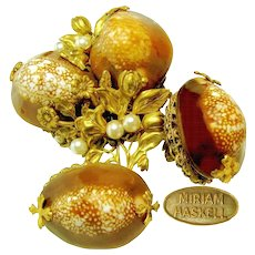 Vintage MIRIAM HASKELL Cowrie Shell Floral Opulent Brooch 'n Earrings
