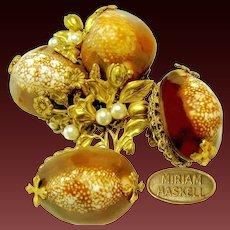 Vintage MIRIAM HASKELL Cowrie Shell Floral Opulent Brooch 'n Earrings