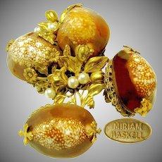 Vintage MIRIAM HASKELL Floral Brooch 'n Earrings, Cowrie Shells