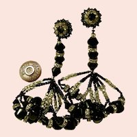 ~MIRIAM HASKELL 3.5 In. Chandeliers ~ GLITZ ~All Glass Vintage~