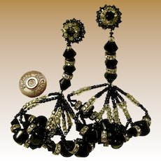 Miriam Haskell Vintage Earrings, 3.5 Inch Long Giltz