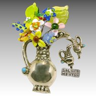 Vintage MEXICO SILVER w/Turquoise Accents Pitcher Set c.1930's 'n Old Lampwork