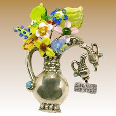 MEXICO SILVER c.1930 w/Turquoise Accent 'n Old Lampwork Glass