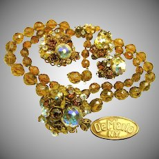 Vintage DeMARIO PARURE Eye Candy, Topaz 'n AB All Glass c.1950's