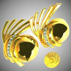 ZOE COSTE Earrings Vintage Gilt Climbers w/ Rhinestones, French COUTURE
