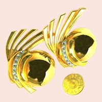 ZOE COSTE Vintage Earrings Gilt Climbers w/ Rhinestones, French COUTURE