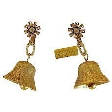 "MIRIAM HASKELL Vintage Jingle Bell 2"" Pendant Earrings"