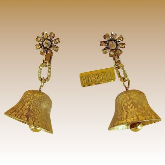 "MIRIAM HASKELL Vintage Jingle Bell 2"" Pendant Earrings"
