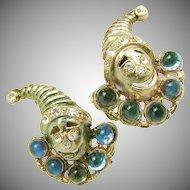 Vintage JACK in the BOX Figural Earrings w/ Rhinestones c.1930's