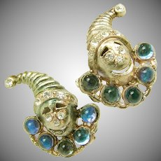 Vintage JACK in the BOX Figural Earrings w/ Rhinestones c.1930's