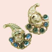 Vintage JACK in the BOX Earrings w/ Rhinestones c.1930's