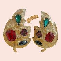 ~KRAMER Jewel-tone Earring ~ Vintage  ~ Prong Set Glass Stones~