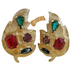KRAMER Vintage Jewel-tone Earrings, Glass Prong Set Stones