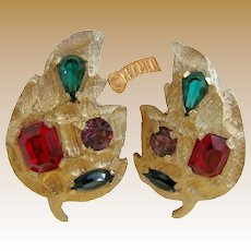 KRAMER Vintage Jewel-tone Earrings, Glass Prong Set Stones