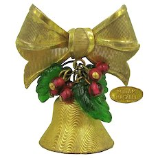 MIRIAM HASKELL Vintage Jingle Bell, Green Holly 'n Red Berries Bow Brooch