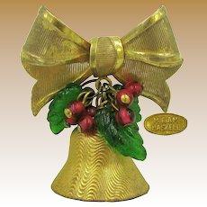 MIRIAM HASKELL Vintage Jingle Bell, Green Holly 'n Red Berries Bow Brooch