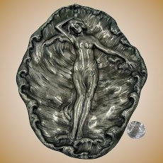 ~JAMES W TUFTS 4175 ~ c.1890's Silverplate Tray ~ Resting Nymph a Foaming Sea~
