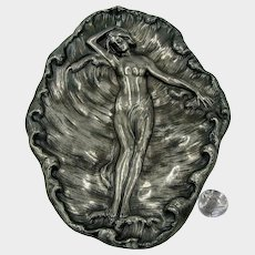 JAMES W TUFTS 4175 Tray ~Resting Nymph in Foaming Sea ~c.1890's Silverplate