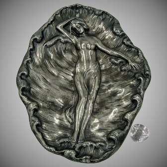 JAMES TUFTS Silver Tray, Nymph Resting in Foaming Sea c.1870's