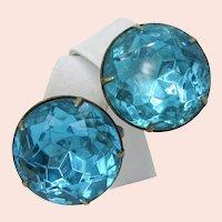STERLING Silver Vintage EARRINGS, Headlite Aquamarine Rhinestones
