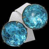 Vintage STERLING Silver EARRINGS w/ Aquamarine Headlite Rhinestones