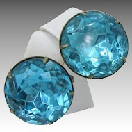Vintage STERLING Silver EARRINGS w/ Aquamarine Headlite Rhinestones