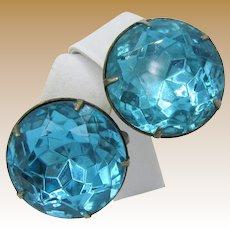 STERLING Silver EARRINGS, Vintage w/ Aquamarine Headlite Rhinestones