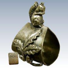 JAMES TUFTS Napkin Ring, Squirrel w/ Acorns c.1897