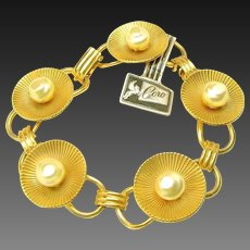 Vintage CORO Link Bracelet Orig.Tag w/ Baroque Glass Pearls c.1940's