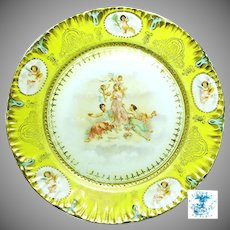 Art Nouveau/Victorian THREE GRACES 'n CHERUBS Display Plate