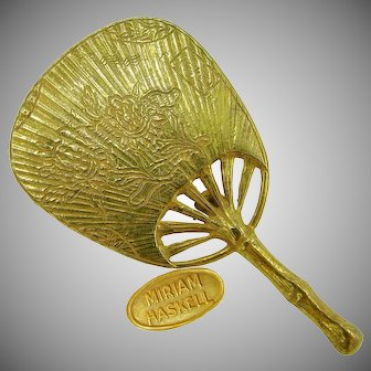 Miriam Haskell CHINOISERIE Vintage Brooch, Gilt Floral Fan