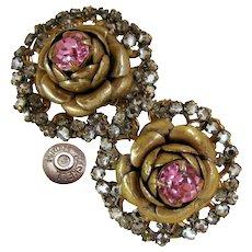 Vintage MIRIAM HASKELL ROSE Rhinestone Earrings Rose Montee Haloed