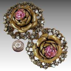 Vintage MIRIAM HASKELL ROSE Flower Earrings Haloed w/Rose Montee