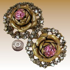 MIRIAM HASKELL Vintage Earrings, Flowers Haloed w/Rose Montee