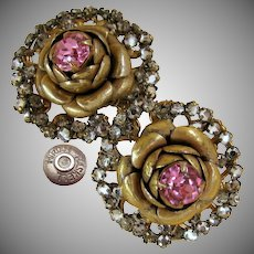 Vintage MIRIAM HASKELL ROSE Rhinestone Earrings Rose Montee Haloed