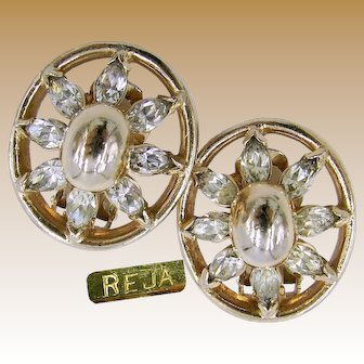 REJA Vintage Earrings, Realistic Look Rhinestones c.1940's