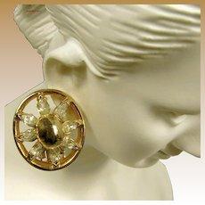 REJA Vintage Earrings, Marquise Rhinestones c.1940's