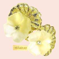 ~CASTLECLIFF  3-D Pansy Earrings ~ Vintage Crystal 'n Rhinestones~