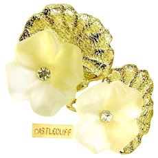 CASTLECLIFF Vintage Earrings, Crystal 3-D Pansies