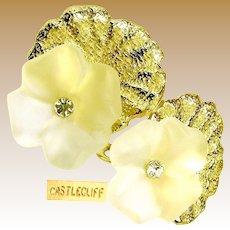 CASTLECLIFF Vintage Earrings, Crystal 3-D Pansies