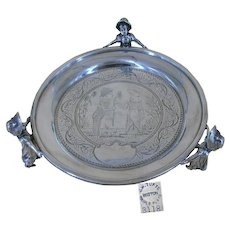 "~JAMES W TUFTS 3118~ ~Kate Greenaway Footed Silver Tray~ ~""RARE"" MULTI-Characters c.1880~"